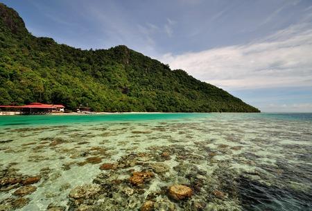 View of Bohey Dulang island in Tun Sakaran Marine Park, Semporna, Sabah, Malaysia