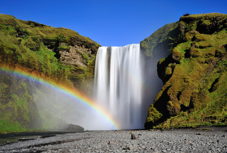 skogafoss waterfall: Long exposure of famous Skogafoss waterfall in Iceland