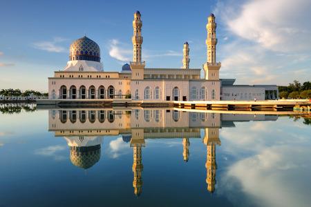 Reflection of Kota Kinabalu mosque at Sabah, Borneo, Malaysia  Famous landmark in Kota Kinabalu Stock Photo