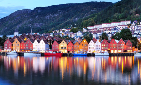 Bergen colorful night view, Norway Imagens - 34430237