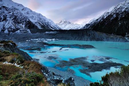 Mt. Cook National Park et le glacier Mueller Banque d'images