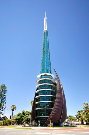 perth: PERTH, AUSTRALIA - SEPTEMBER 03: The Swan Bells Tower on September 03, 2010 in Perth Western Australia. The Swan Bells are a set of 18 bells hanging in 82.5 meters-high copper and glass campanile.