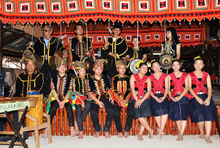harvest festival: Kota Kinabalu, Sabah, Malaysia - MAY 30 2014: Kadazan Dusun from Borneo Tribe in traditional Kadazan Dusun costumes during the Sabah State Harvest Festival celebration or Kaamatan.