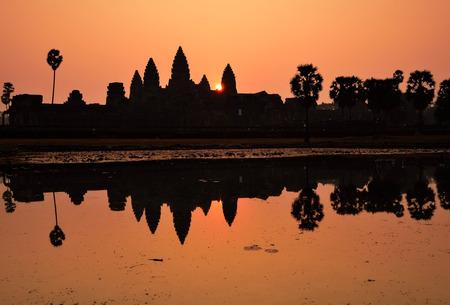 angkor wat: Silhouette of Angkor Wat Temple during sunrise