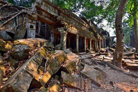 phrom: Ta Phrom temple ruins in Angkor, Siem Reap, Cambodia