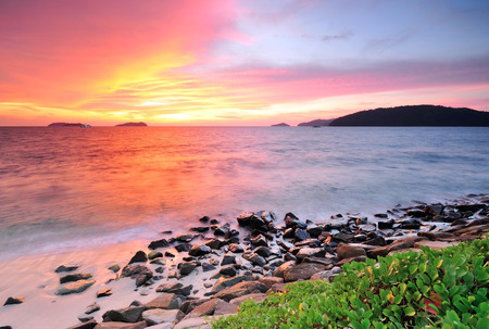 dramatic sky: Sunset at the beach in Kota Kinabalu Sabah Borneo Malaysia Stock Photo