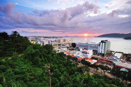Kota Kinabalu Cityscape at sunset, Sabah Borneo Malaysia