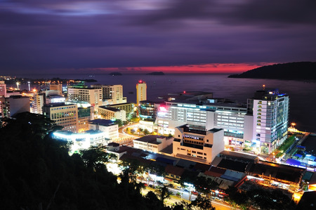 sabah: Night scenery of Kota Kinabalu City, Sabah Borneo Malaysia Editorial