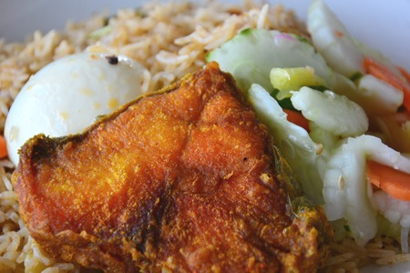 nasi: Nasi Biryani with fried fish