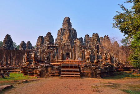 thom: View of Bayon Temple in late afternoon light. Bayon Temple is located in Siem Reap Cambodia.