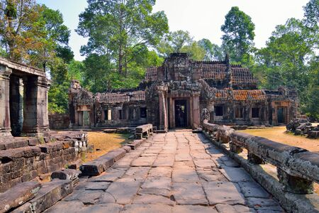 bass relief: The ruins of Banteay Kdei Temple in Angkor Wat Temple Complex, located in Siem reap, Cambodia.