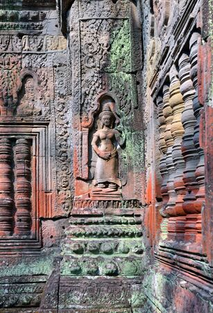 bass relief: Bass-Relief in Angkor Wat Temple, Siem Reap, Cambodia.