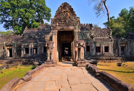 bass relief: Preah Khan Temple entrance, one of the temple in Angkor Wat Temple complex located in Siem Reap, Cambodia