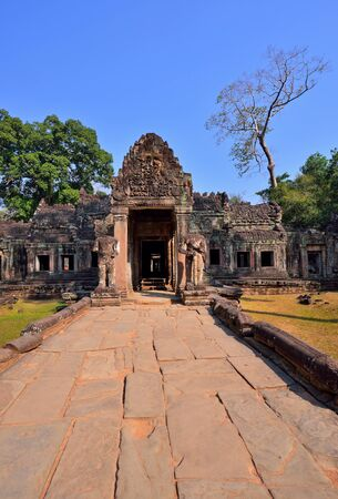 bass relief: Ancient Preah Khan Temple, Siem Reap, Cambodia. Stock Photo