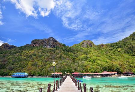 Jetty at Bohey Dulang Island in Sabah Borneo Malaysia. Imagens