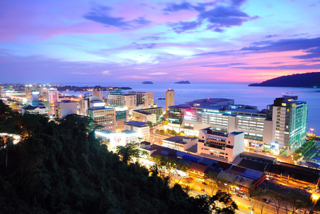 sabah: Kota Kinabalu Night scenery during sunset Kota Kinabalu is the capital city of the state of Sabah located in East Malaysia.