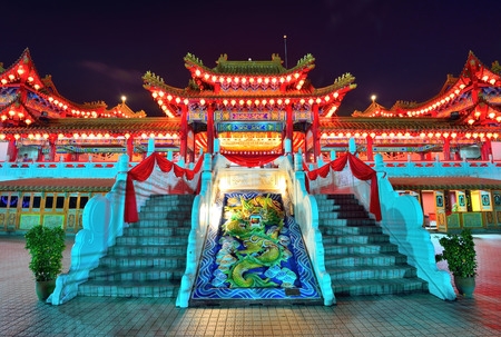 Thean Hou Temple at night time with lanterns decoration Kuala Lumpur Malaysia.