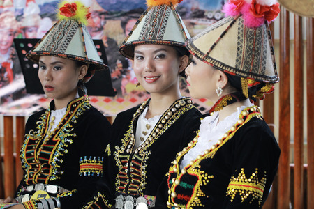 harvest festival: KOTA KINABALU MALAYSIA  MAY 30 2015: Women of Kadazandusun ethnic in traditional costumes during the State Harvest Festival Celebration in KDCA Kota Kinabalu Sabah. Editorial
