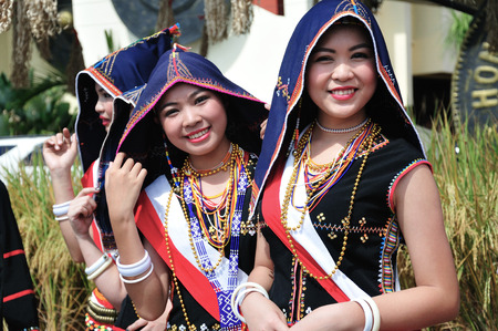 KOTA KINABALU MALAYSIA  MAY 30 2015: Women of Kadazandusun ethnic in traditional costumes during the State Harvest Festival Celebration in KDCA Kota Kinabalu Sabah. Sajtókép