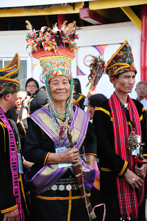 harvest festival: KOTA KINABALU MALAYSIA  MAY 30 2015: Bobohizan or high priestess in Kadazandusun pagan rites pose for guests during the State Harvest Festival Celebration in KDCA Kota Kinabalu Sabah.