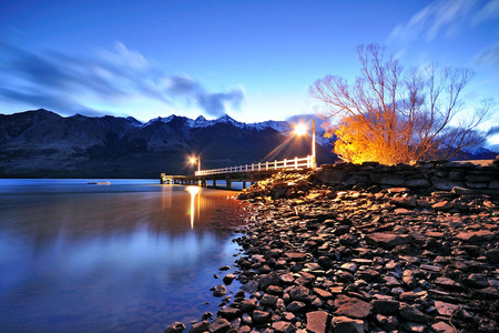 long lake: Twilight at Glenorchy jetty, Queenstown, New Zealand.