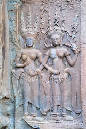 bas relief: Apsara, a bas relief in Angkor Thom, Angkor Wat Temple Complex near Siem Reap, Cambodia.