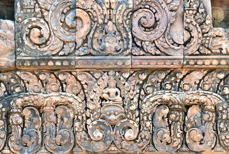 siem reap: Bas relief in Banteay Srei, Siem Reap, Cambodia.