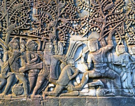 bas relief: Bas relief in bayon Temple, Angkor Wat, Cambodia. Editorial