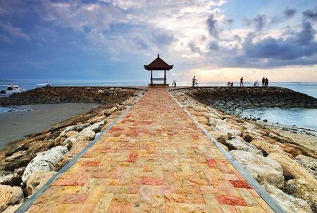 sanur: Balinese Pagoda on the beach at Sanur, Bali, Indonesia. Stock Photo