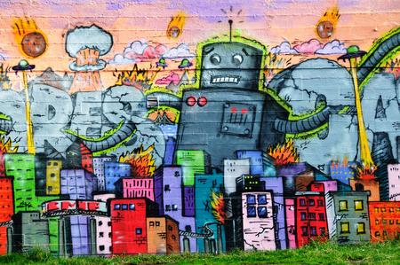 REYKJAVIK, ICELAND - SEPTEMBER 22, 2013: Colorful graffiti art line the street walls and back alleys of Reykjavik, Icelands capital.