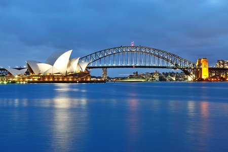 SYDNEY, AUSTRALIA - OCTOBER 18, 2015: The Sydney Opera House and the iconic bridge viewed from Mrs Macquaries point in Sydney. The Sydney Opera house and the bridge are iconic landmark in Australia. Editorial