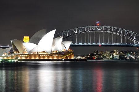 SYDNEY, AUSTRALIA - OCTOBER 18, 2015: The Sydney Opera House night scenery viewed from Mrs Macquaries point in Sydney. The Sydney Opera house is iconic landmark in Sydney Australia.