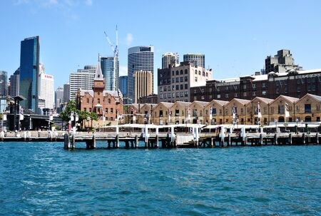 tourisms: SYDNEY, AUSTRALIA - OCTOBER 19, 2015: View of The Rocks District in Circular Quay. The Rocks is an urban locality, tourist precinct and historic area of Sydneys city center. Editorial