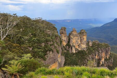 echo: View of the Three Sisters from Echo Point, NSW, Australia. Stock Photo