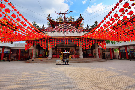 Red lanterns decorations at Thean Hou Temple in Kuala Lumpur, Malaysia Stock Photo