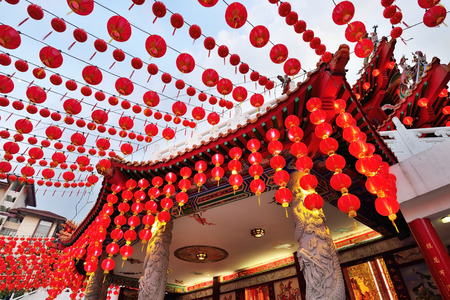 Red lanterns decorations at Thean Hou Temple in Kuala Lumpur, Malaysia Imagens