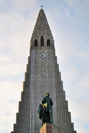 The statue of Leif Eriksson in front of Hallgrimskirkja church, central Reykjavik, Iceland