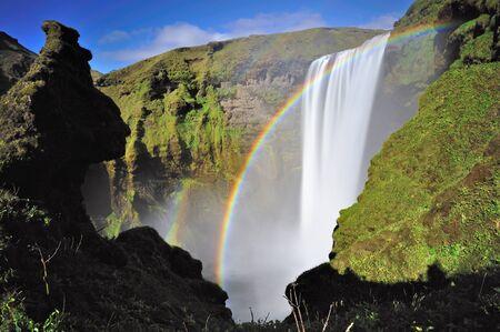skogafoss waterfall: Rainbow in Skogafoss waterfall, Iceland.