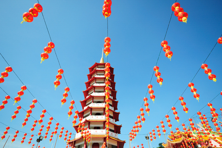 chinese pagoda: Chinese pagoda and lanterns during chinese new year
