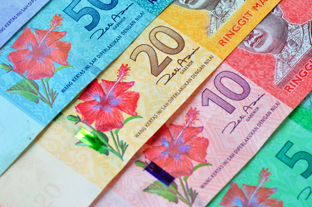 Close up and selective focus of ringgit Malaysia currency Stock Photo - 54675462