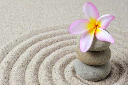 raked: Selective focus of zen stones with frangipani flower with raked sand background Stock Photo