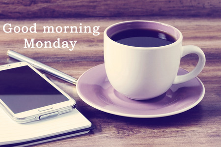 capable of learning: Good morning Monday greeting with retro style background Stock Photo
