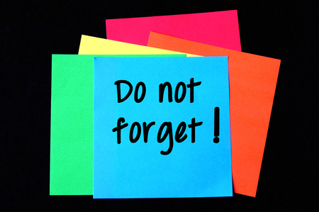 not forget: Do not forget on colorful paper