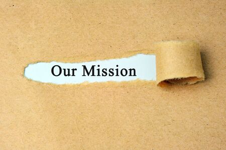 Ripped paper with our mission text.