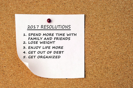 new years resolutions: 2017 new years resolutions pin on a cork board