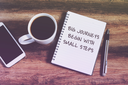 inspirational quotes big journeys begin with small steps retro style background
