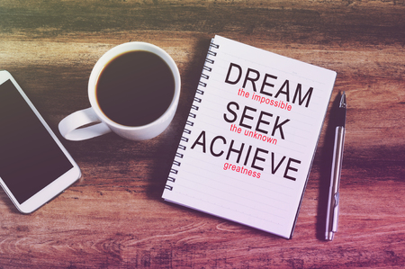 greatness: inspirational quotes dream the impossible, seek the unknown, achieve the greatness retro style background