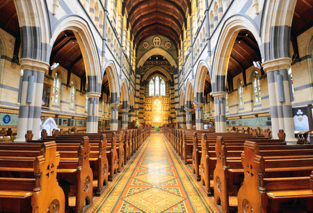 religious service: MELBOURNE, AUSTRALIA - OCTOBER 25, 2015: Interior design of St. Pauls Cathedral, St. Pauls Cathedral is a cathedral church of the Anglican Diocese of Melbourne, Victoria in Australia. Editorial