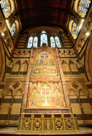 reredos: MELBOURNE, AUSTRALIA - OCTOBER 25, 2015: Interior design of St. Pauls Cathedral, St. Pauls Cathedral is a cathedral church of the Anglican Diocese of Melbourne, Victoria in Australia. Editorial