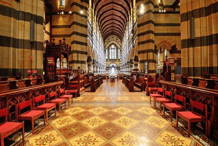 MELBOURNE, AUSTRALIA - OCTOBER 25, 2015: Interior design of St. Pauls Cathedral, St. Pauls Cathedral is a cathedral church of the Anglican Diocese of Melbourne, Victoria in Australia. Editorial